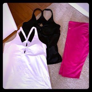 Fabletics yoga tops and pink crop leggings XXL
